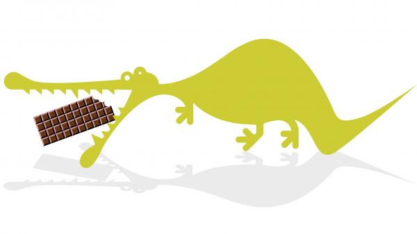 RealityBites crocodile eating chocolate