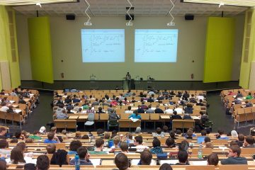 Lecture theatre filled with students