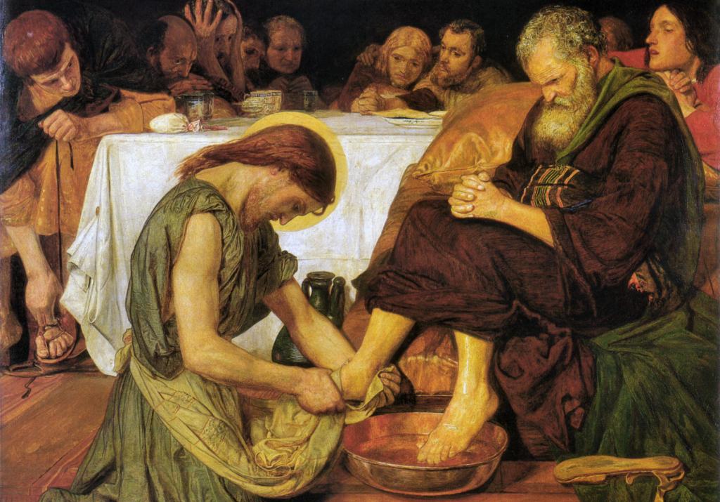 Painting showing Jesus washing Peter's feet