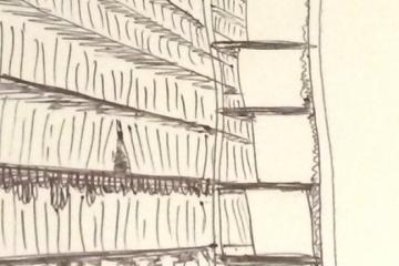 Cartoon sketch of tall library shelves